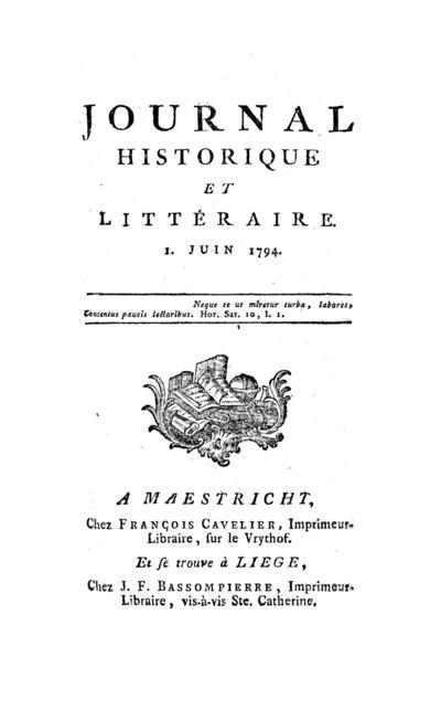 Journal historique et littéraire - 1794-06-01