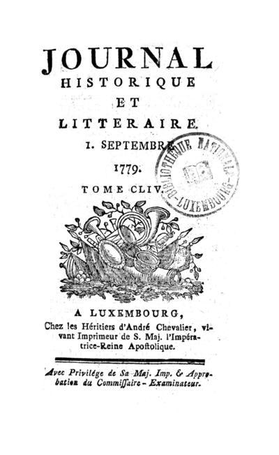 Journal historique et littéraire - 1779-09-01