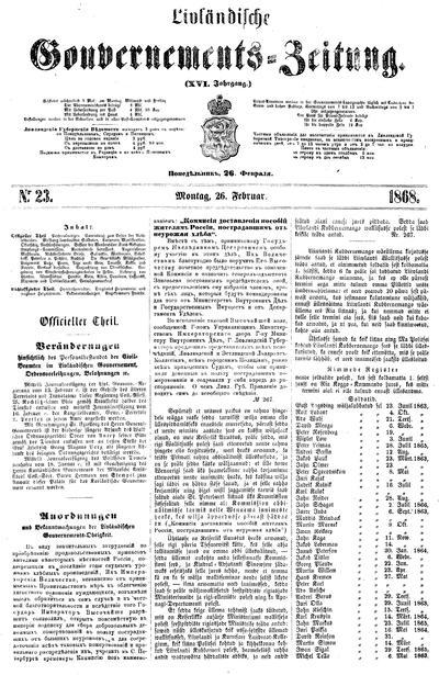 Лифляндские губернские ведомости = Livländische Gouvernements-Zeitung - 1868-02-26