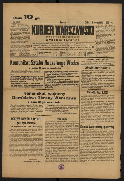 Kurjer Warszawski - 1939-09-13