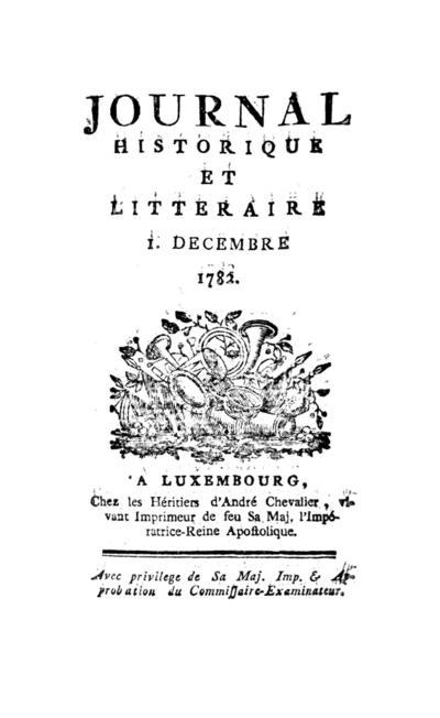 Journal historique et littéraire - 1782-12-01