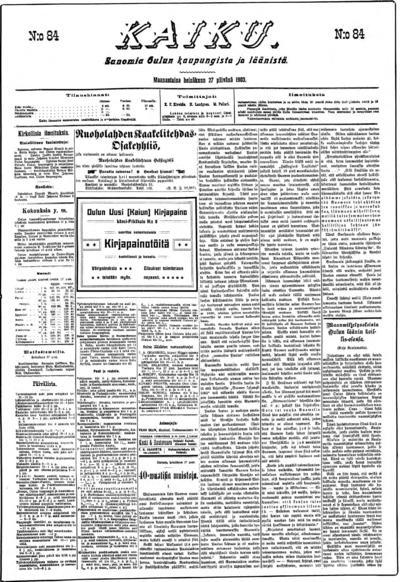 Kaiku, nr: 84 Sanomia Oulun kaupungista ja läänistä - 1903-07-27