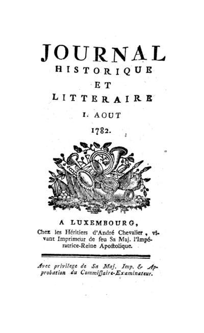 Journal historique et littéraire - 1782-08-01