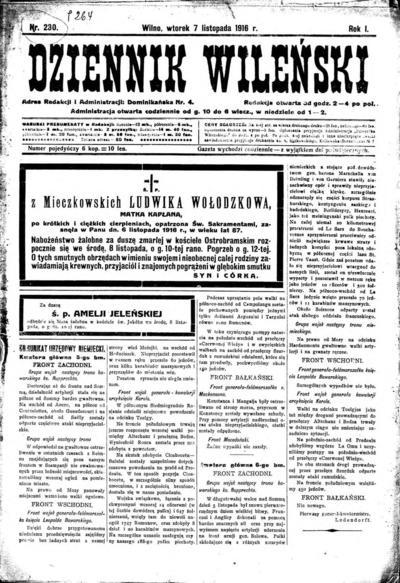 Dziennik Wileński - 1916-11-07