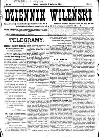 Dziennik Wileński - 1916-04-09