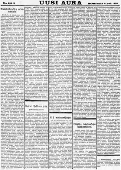 Uusi Aura, nr: 255B - 1908-11-04