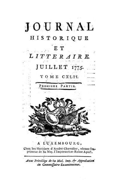 Journal historique et littéraire - 1775-07-01