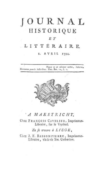 Journal historique et littéraire - 1794-04-01