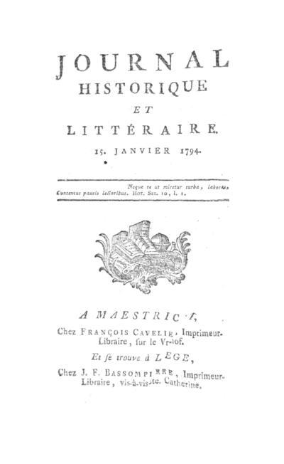 Journal historique et littéraire - 1794-01-15