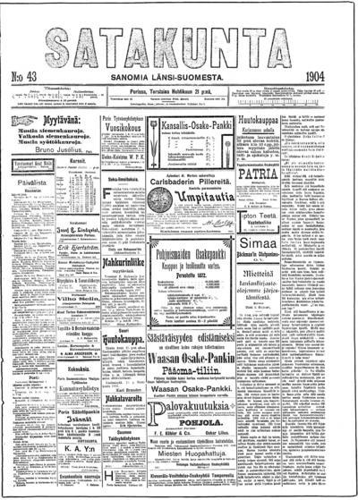 Satakunta, nr: 43 Sanomia Länsi-Suomesta - 1904-04-21