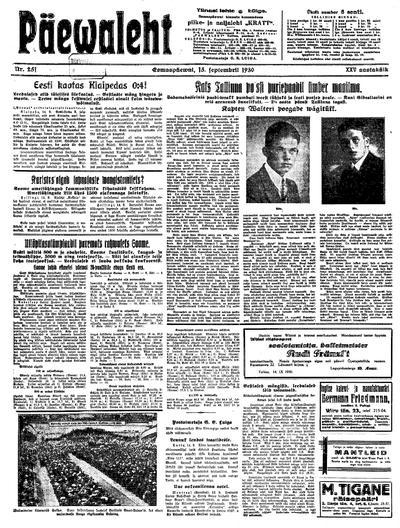 Päevaleht - 1930-09-15