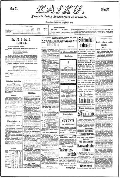 Kaiku, nr: 21 Sanomia Oulun kaupungista ja läänistä - 1905-02-20