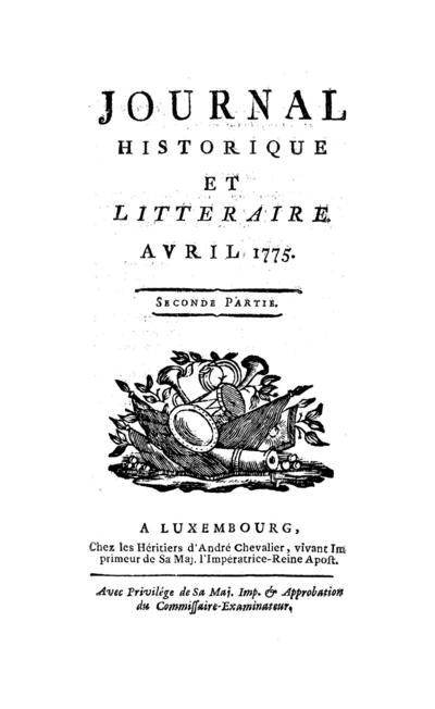 Journal historique et littéraire - 1775-04-15