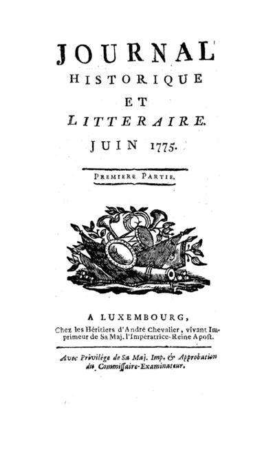 Journal historique et littéraire - 1775-06-01
