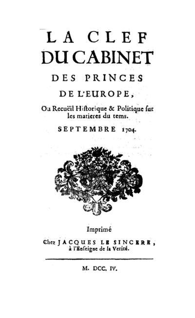 La clef du cabinet des princes de l'Europe - 1704-09-01