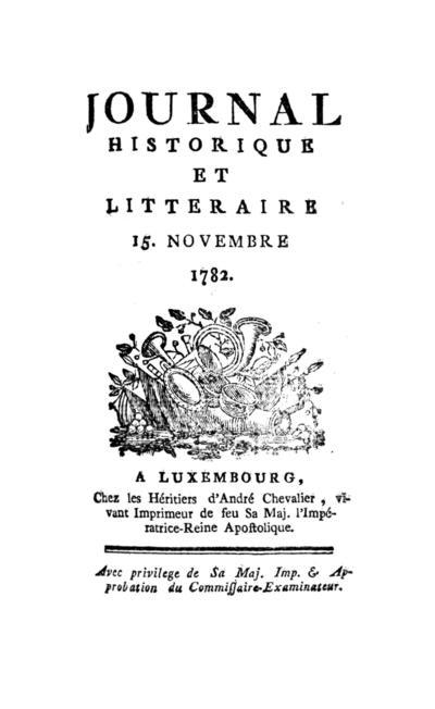 Journal historique et littéraire - 1782-11-15