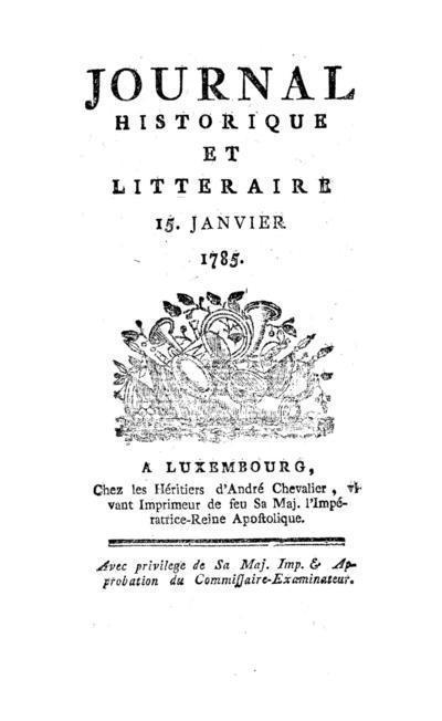 Journal historique et littéraire - 1785-01-15