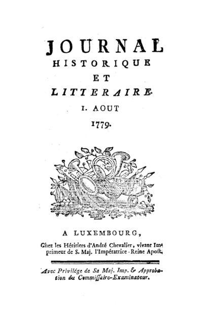 Journal historique et littéraire - 1779-08-01