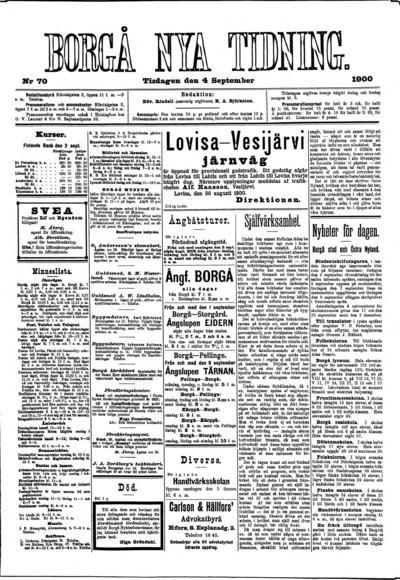 Borgå Nya Tidning, nr: 70 - 1900-09-04