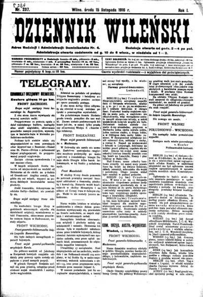 Dziennik Wileński - 1916-11-15