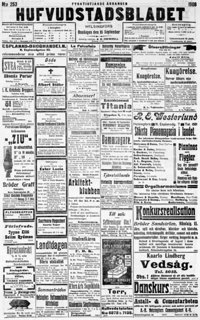 Hufvudstadsbladet, nr: 253 - 1908-09-16