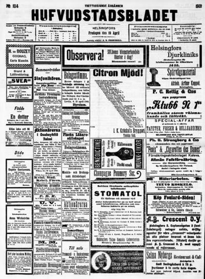 Hufvudstadsbladet, nr: 104 - 1901-04-19