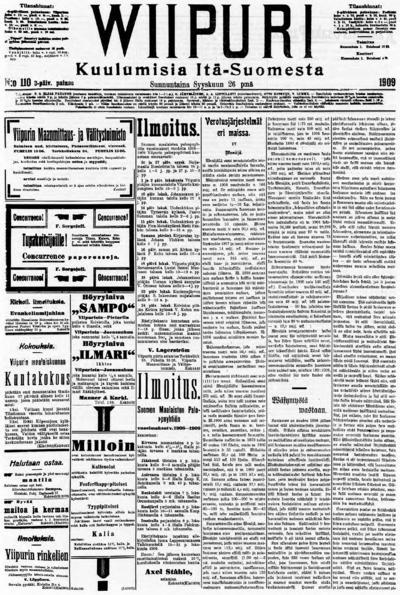 Wiipuri, nr: 222 Kuulumisia Itä-Suomesta - 1909-09-26