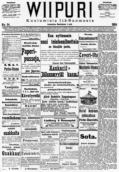 Wiipuri, nr: 54 Kuulumisia Itä-Suomesta - 1904-03-05