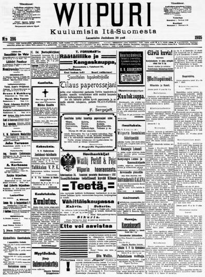 Wiipuri, nr: 296 Kuulumisia Itä-Suomesta - 1905-12-30