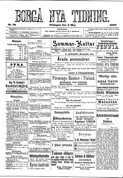Borgå Nya Tidning, nr: 36 - 1900-05-08