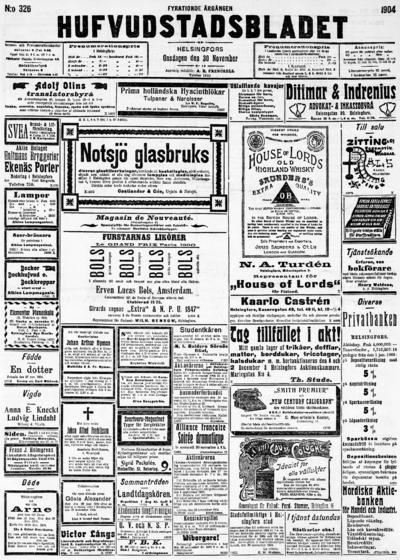 Hufvudstadsbladet, nr: 326 - 1904-11-30