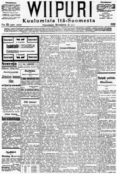 Wiipuri, nr: 131 Kuulumisia Itä-Suomesta - 1909-11-14
