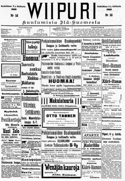 Wiipuri, nr: 58 Kuulumisia Itä-Suomesta - 1900-04-11