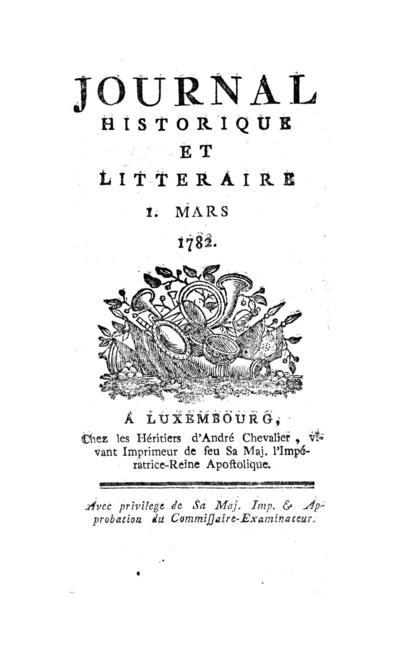 Journal historique et littéraire - 1782-03-01
