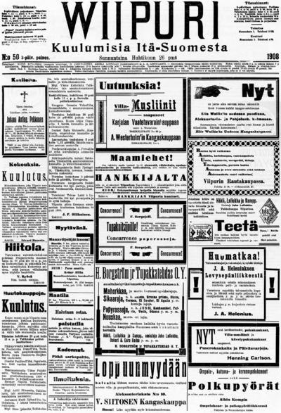 Wiipuri, nr: 50 Kuulumisia Itä-Suomesta - 1908-04-26