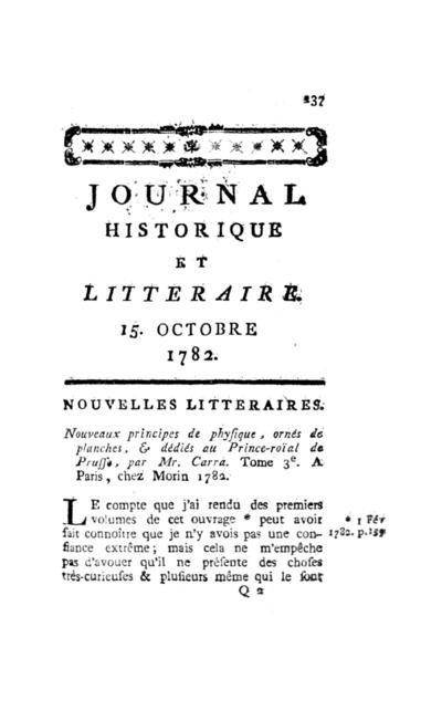 Journal historique et littéraire - 1782-10-15