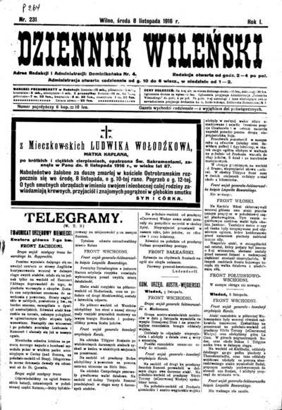 Dziennik Wileński - 1916-11-08