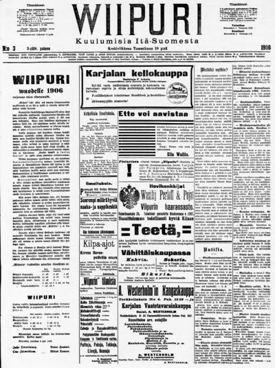 Wiipuri, nr: 6 Kuulumisia Itä-Suomesta - 1906-01-10