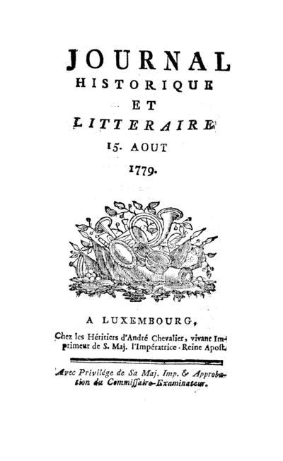 Journal historique et littéraire - 1779-08-15