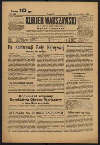 Kurjer Warszawski - 1939-09-14