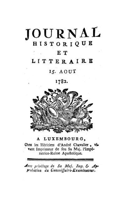 Journal historique et littéraire - 1782-08-15