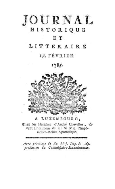 Journal historique et littéraire - 1785-02-15