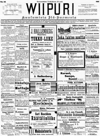 Wiipuri, nr: 115 Kuulumisia Itä-Suomesta - 1901-05-19