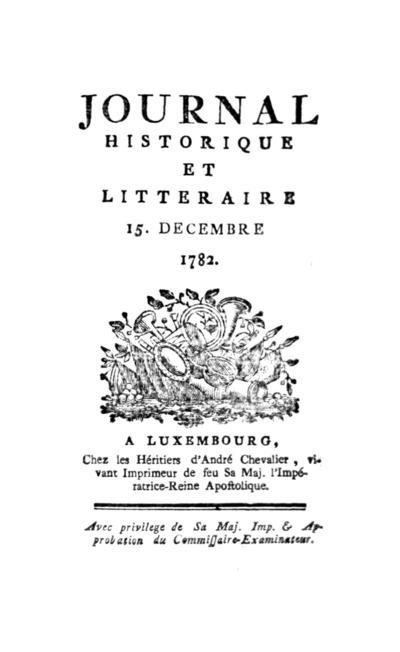 Journal historique et littéraire - 1782-12-15