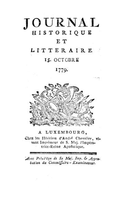 Journal historique et littéraire - 1779-10-01