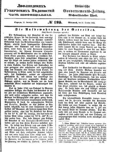Лифляндские губернские ведомости = Livländische Gouvernements-Zeitung - 1856-10-31