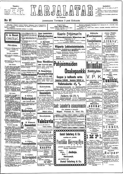 Karjalatar, nr: 87 - 1905-08-03