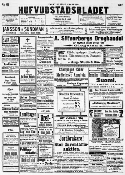 Hufvudstadsbladet, nr: 156 - 1907-06-11