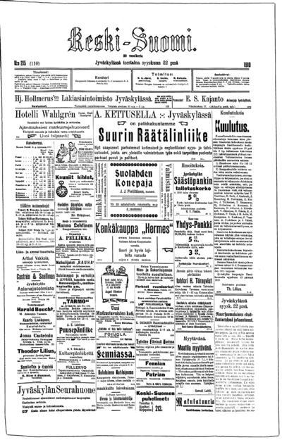 Keski-Suomi, nr: 215 - 1910-09-22