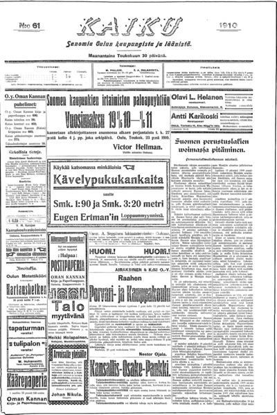 Kaiku, nr: 61 Sanomia Oulun kaupungista ja läänistä - 1910-05-30